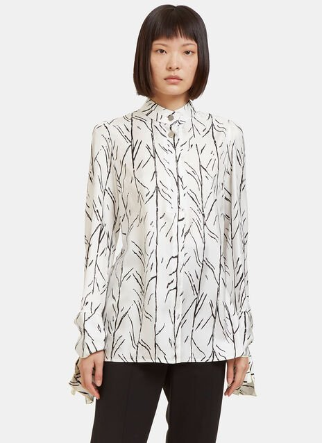 Printed Knot Cuffed Blouse