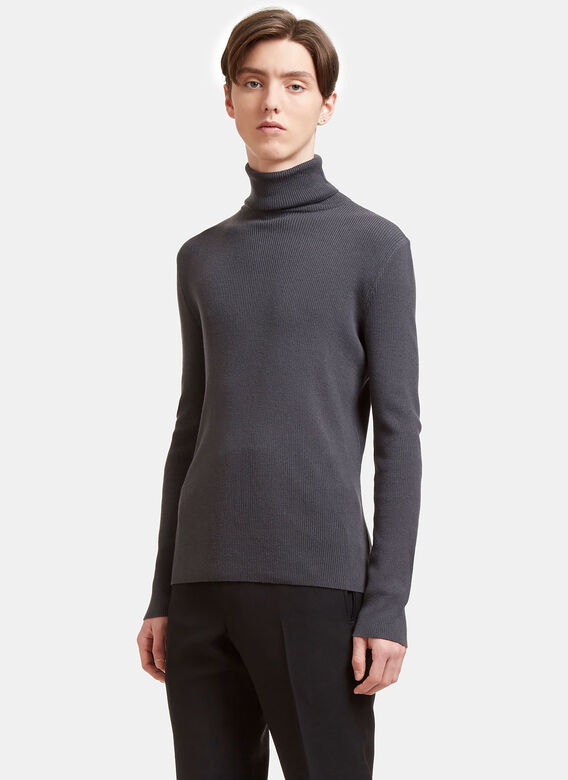 Aiezen Sweaters AIEZEN Men's Ribbed Polo Neck Sweater from SS15 in Grey