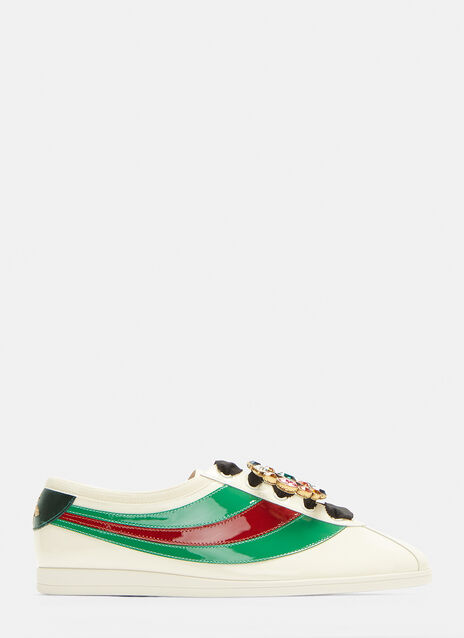 Gucci Falacer Jewelled Patent Web Sneakers