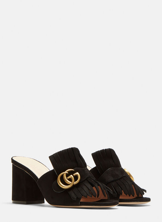 64f551a9d00 Gucci GG Mid-heel Fringed Marmont Mules in Black
