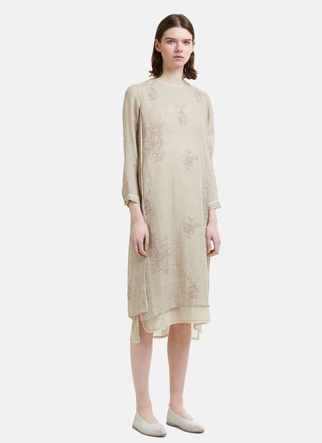 Eka Floral Print Layered Linen Dress