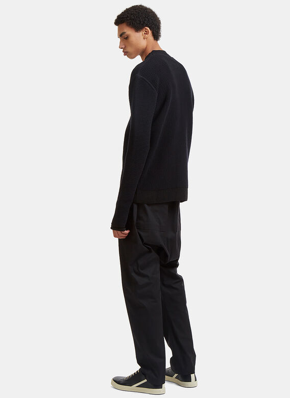 Rick Owens Level Lupetto Contrast Waffle Ribbed Knit Sweater