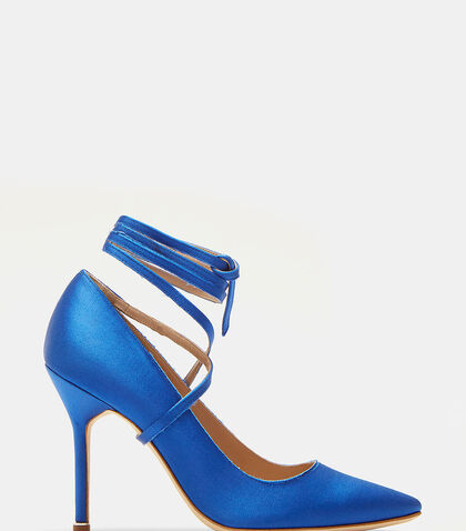 Manolo Blahnik Ankle Tie Stiletto Heeled Pumps