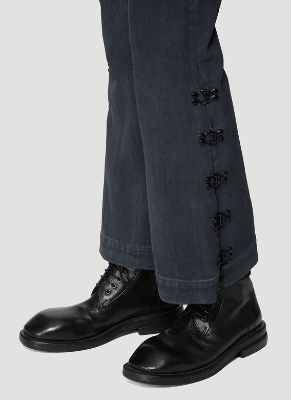 Olivier Theyskens FLARED BOTTOM JEANS WITH HOOK AND EYE DETAIL 5