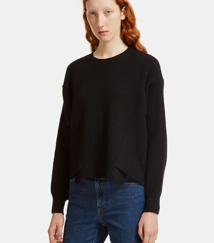 Asymmetric Ribbed Knit Sweater