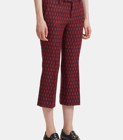 Woven Tile Jacquard Flared Pants