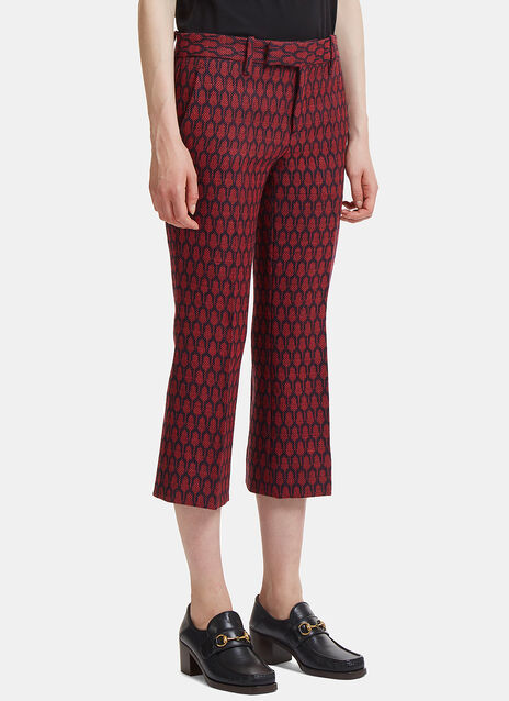 Gucci Woven Tile Jacquard Flared Pants