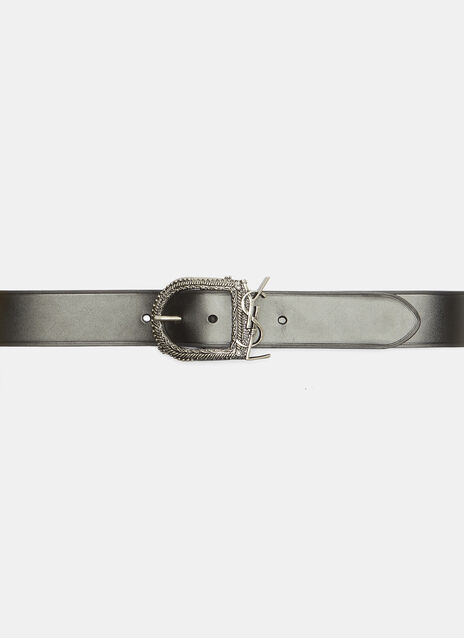 Saint Laurent Monogram Buckle Leather Belt