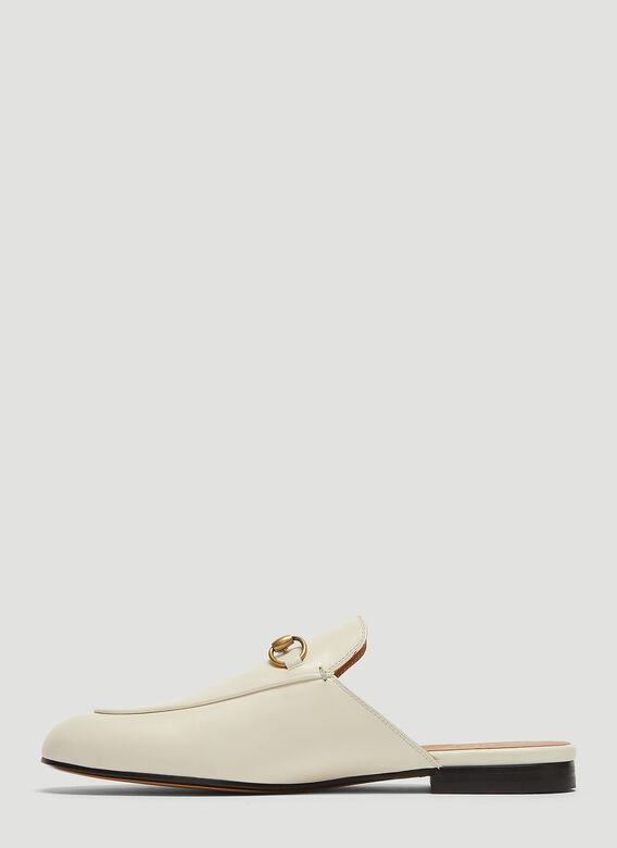 e6a6df9b7 Gucci Princetown Leather Backless Mules in White | LN-CC