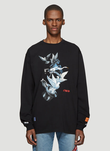 Heron Preston Long Sleeve Doves Print T-Shirt