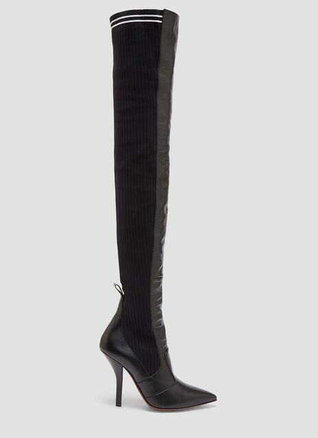 Fendi Black Leather Thigh-High Sock Boots
