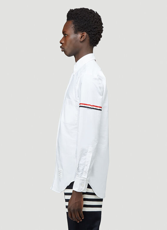 Thom Browne CLASSIC LONG SLEEVE BUTTON DOWN POINT COLLAR SHIRT W/ GG ARMBAND IN OXFORD 3