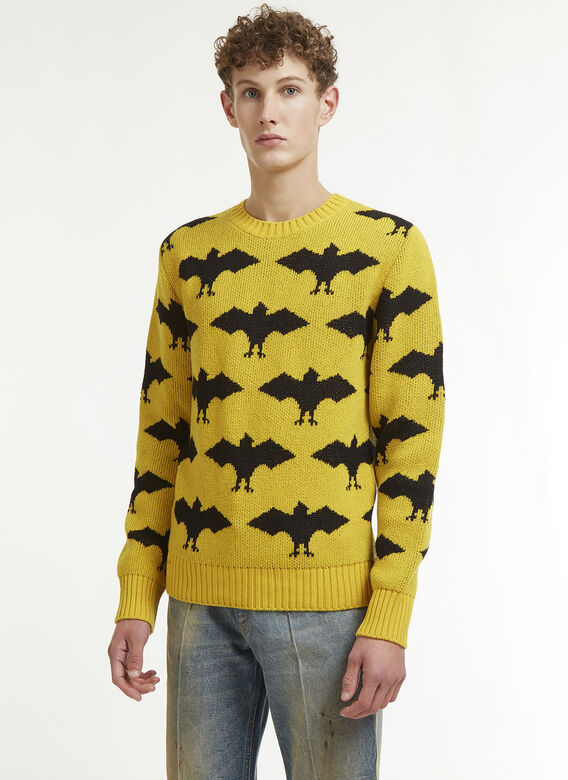 3c340c56b122 Gucci. Bat Jacquard Crew Neck Knit Sweater in Yellow and Black