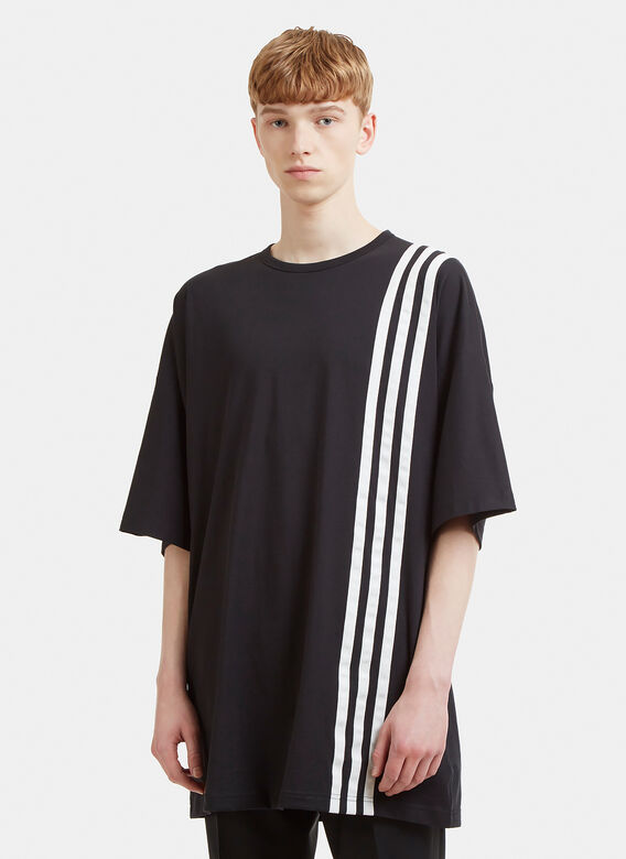 Y-3 Three Stripe Crew Neck T-Shirt