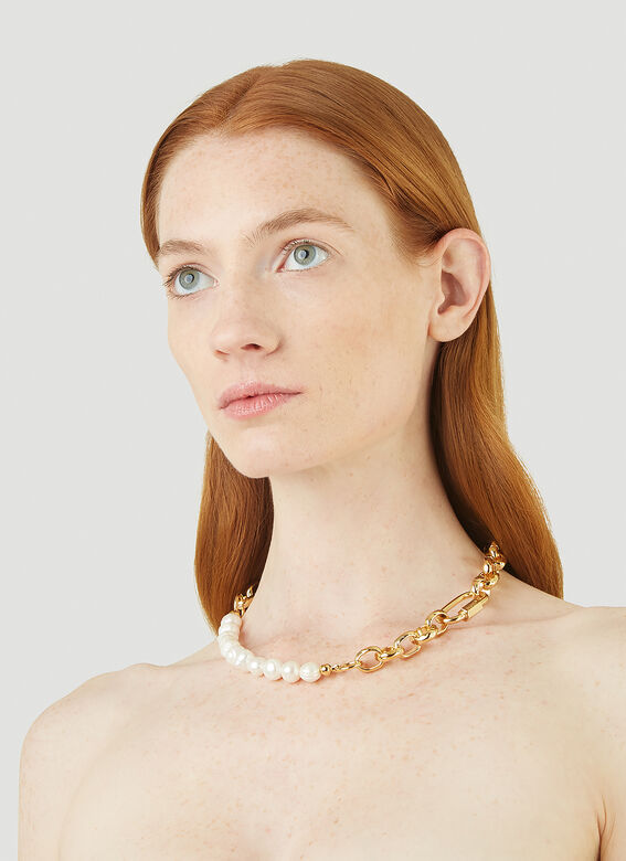 In Gold We Trust Bold Pearl Chain Necklace 2