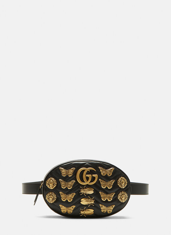 8c6a5dc081e GG2.0 Marmont Insect Belt Bag in Black