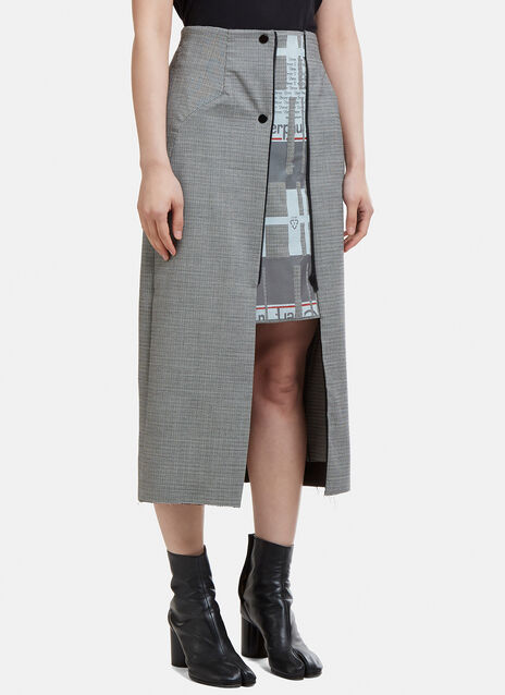 Capara Layered Hounds Tooth A-Line Skirt 13