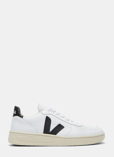 Veja V-10 Mid-Top Leather Sneakers