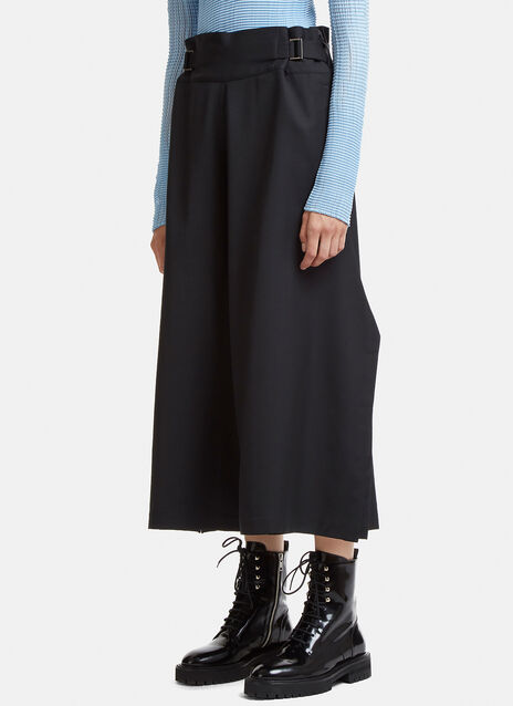 Buckled Wide Leg Dropped Crotch Pants