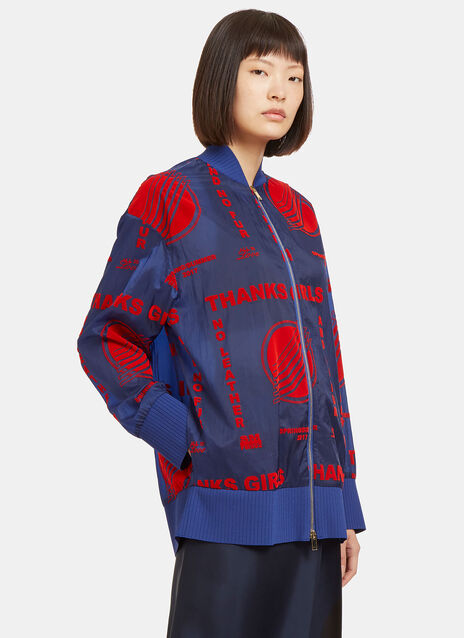 Stella McCartney Flocked Print Bomber Jacket