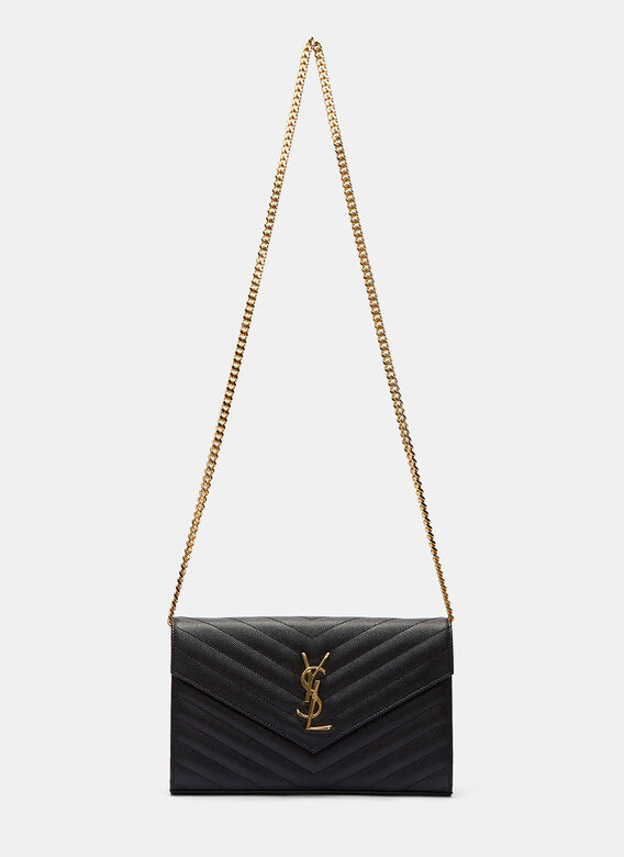 9733517c7e81 Saint Laurent. Women s Chevron Quilted Monogrammed Crossbody Bag in Black