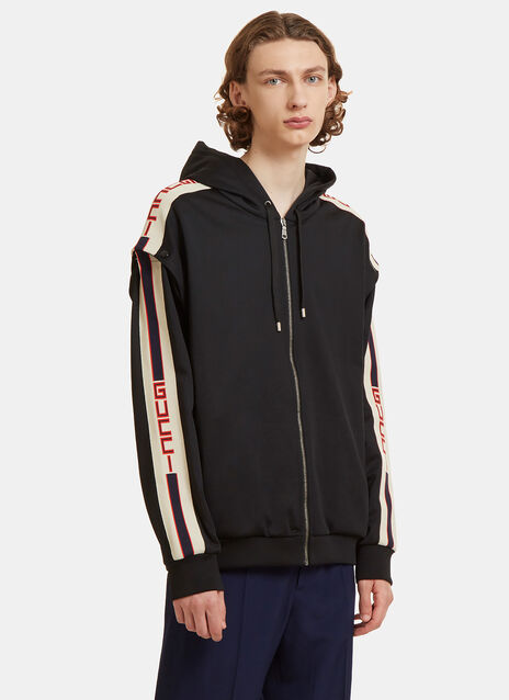 Gucci Striped Technical Jersey Hooded Sweater