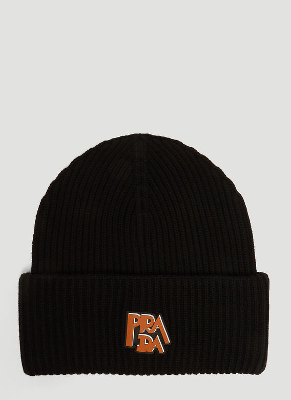 56e34cdaa46 Prada Prada Logo Knit Hat in Black