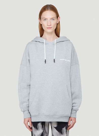 Honey Fucking Dijon Show Me Love Hooded Sweatshirt in Grey