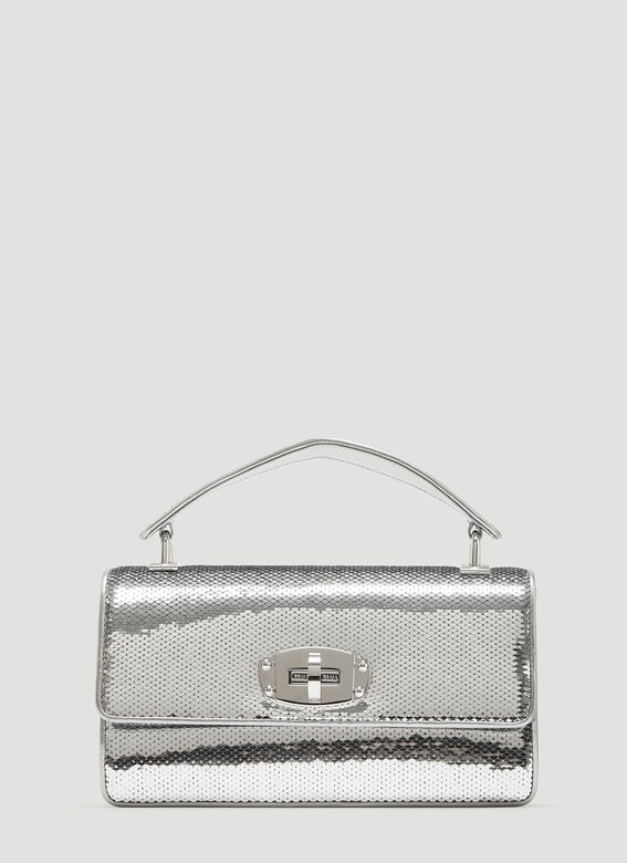 81290008778 Miu Miu Cleo Sequined Leather Shoulder Bag in Silver