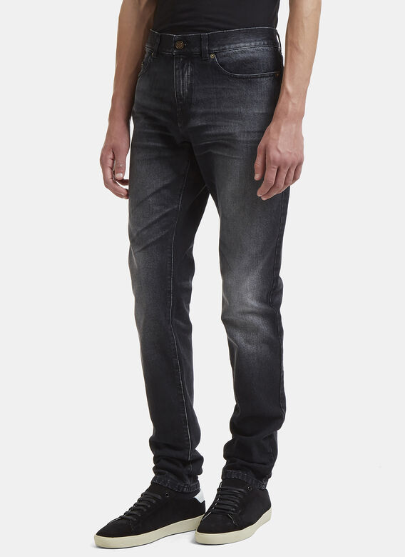 073354ed46 D02 Low-Waisted Université Patch Skinny Jeans in Black