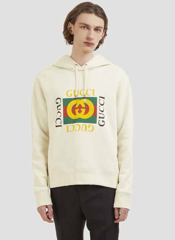 Logo Hooded Sweater In Cream by Gucci