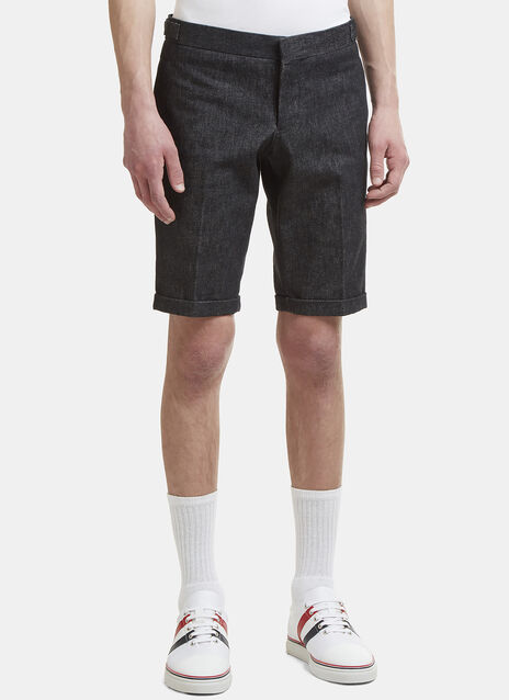 Thom Browne Washed Denim Turn-Up Shorts