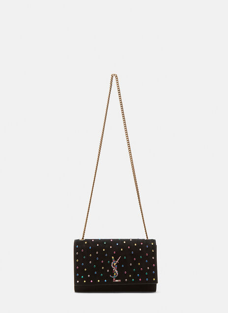 Saint Laurent Kate Rainbow Crystal Suede Shoulder Bag