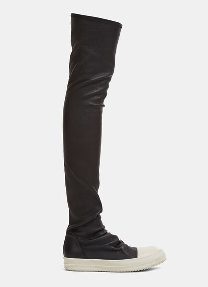 Image of Thigh-High Leather Stocking Sneakers