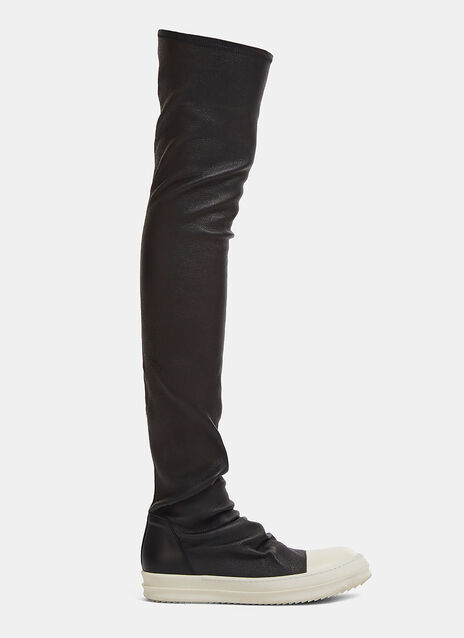Rick Owens Thigh-High Leather Stocking Sneakers