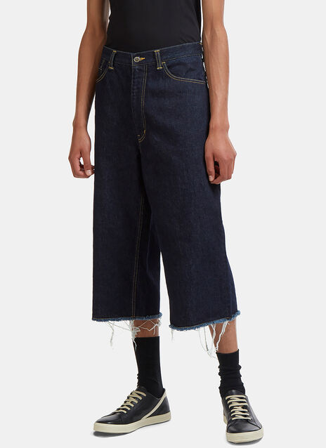 Facetasm Oversized Raw-Cut Cropped Jeans