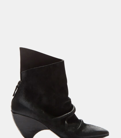 Suede Curved Heel Ankle Boots