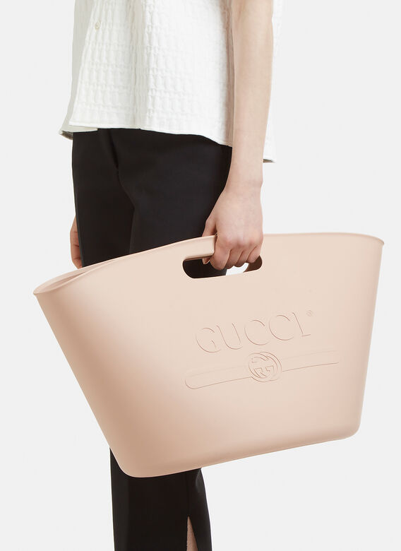 18ff4659e Gucci Logo Embossed Top Handle Rubber Tote Bag in Pink | LN-CC