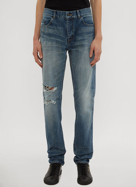 Saint Laurent Destroyed Knee Jeans