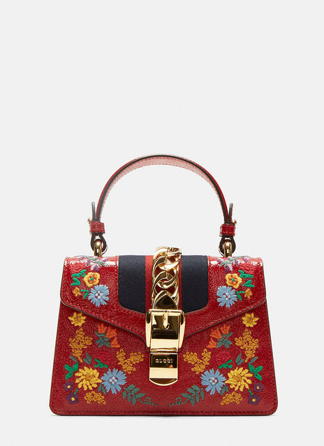 Gucci Mini Sylvie Embroidered Shoulder Bag