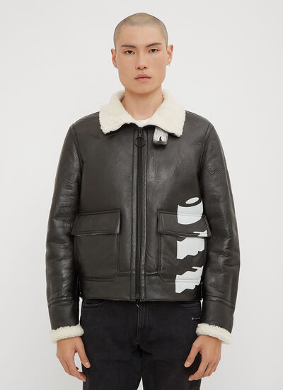 Off-White Shearling Lined Leather Jacket