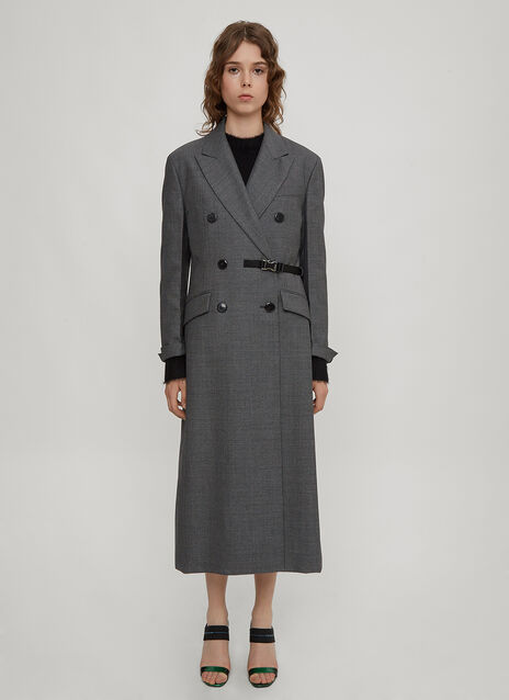 Prada Double Breasted Damier Wool Coat