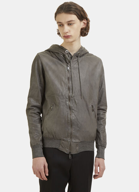Giorgio Brato Leather Hooded Jacket