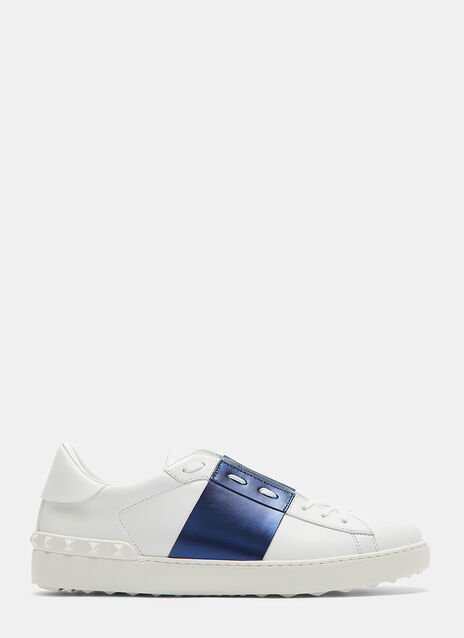 Valentino Open Metallic Panel Stud Sneakers