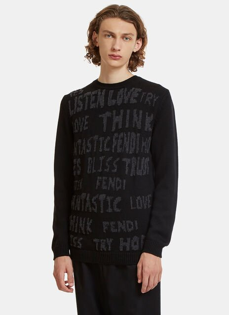 Fleeced Text Intarsia Knit Sweater