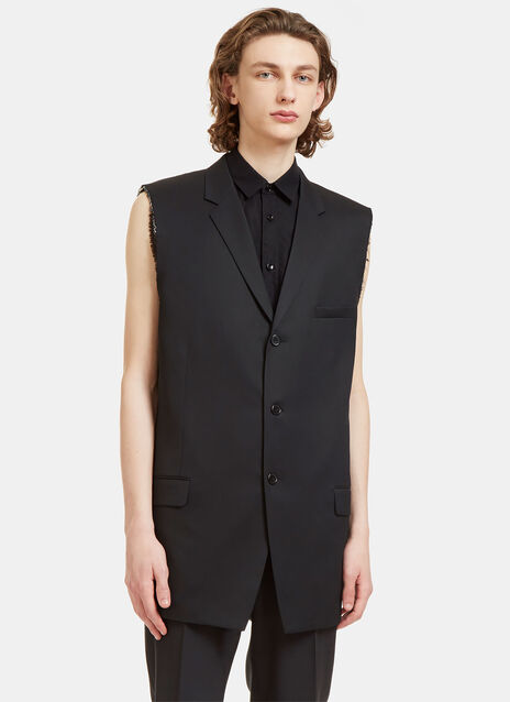 Raw-Edged Sleeveless Tuxedo Jacket
