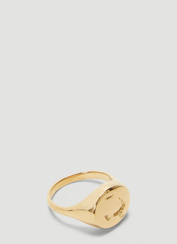 Pearls Before Swine Signet Hammered Ring 1