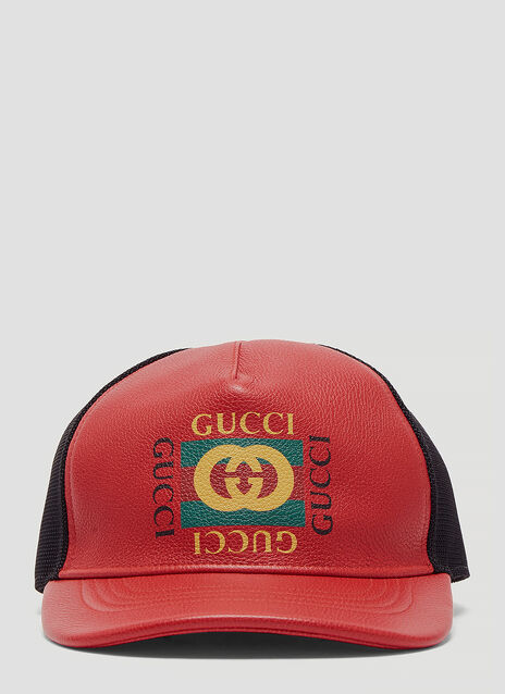 1e6665c929525 Gucci Logo Print Leather Baseball Hat