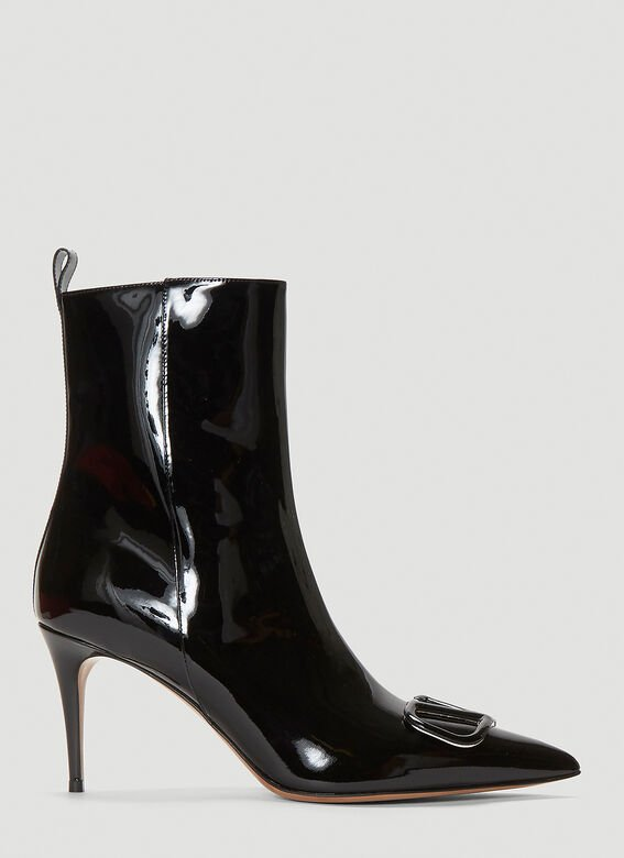 Valentino VLogo Leather Boots in Black