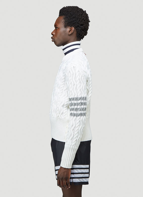 Thom Browne CLASSIC ARAN CABLE CREW NECK PULLOVER W/ 4 BAR SLEEVE IN FINE MERINO WOOL 3